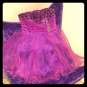 Purple Tulle Cocktail, Homecoming or party Dress